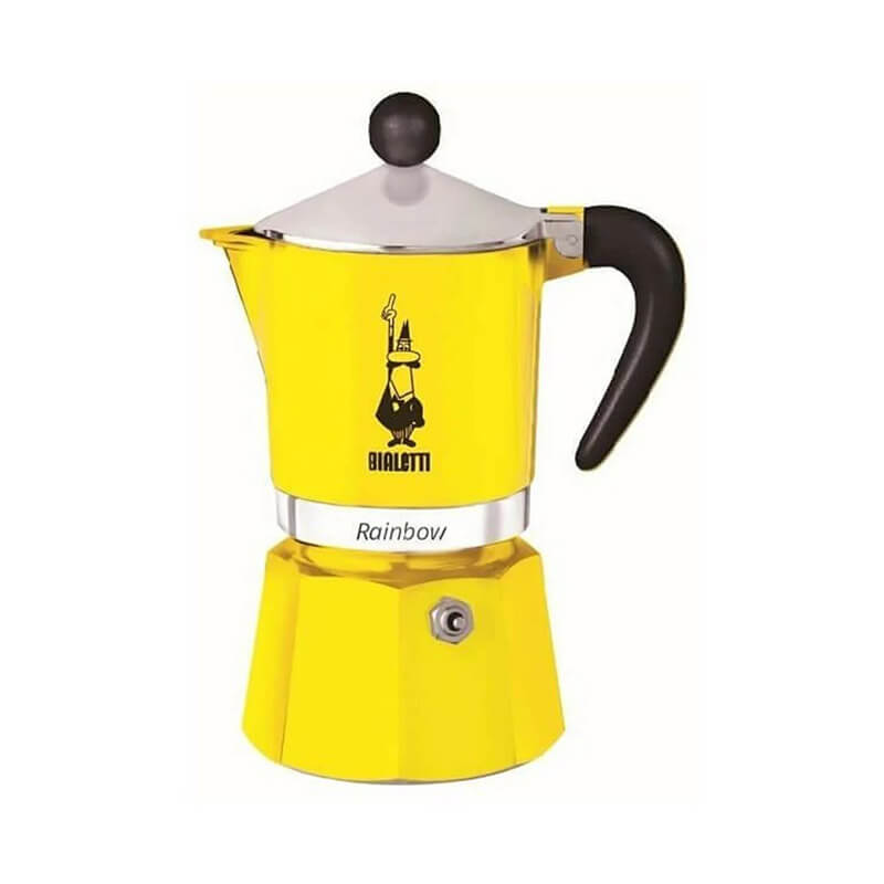 Bialetti Moka Pot Rainbow 3 Cup, Sarı