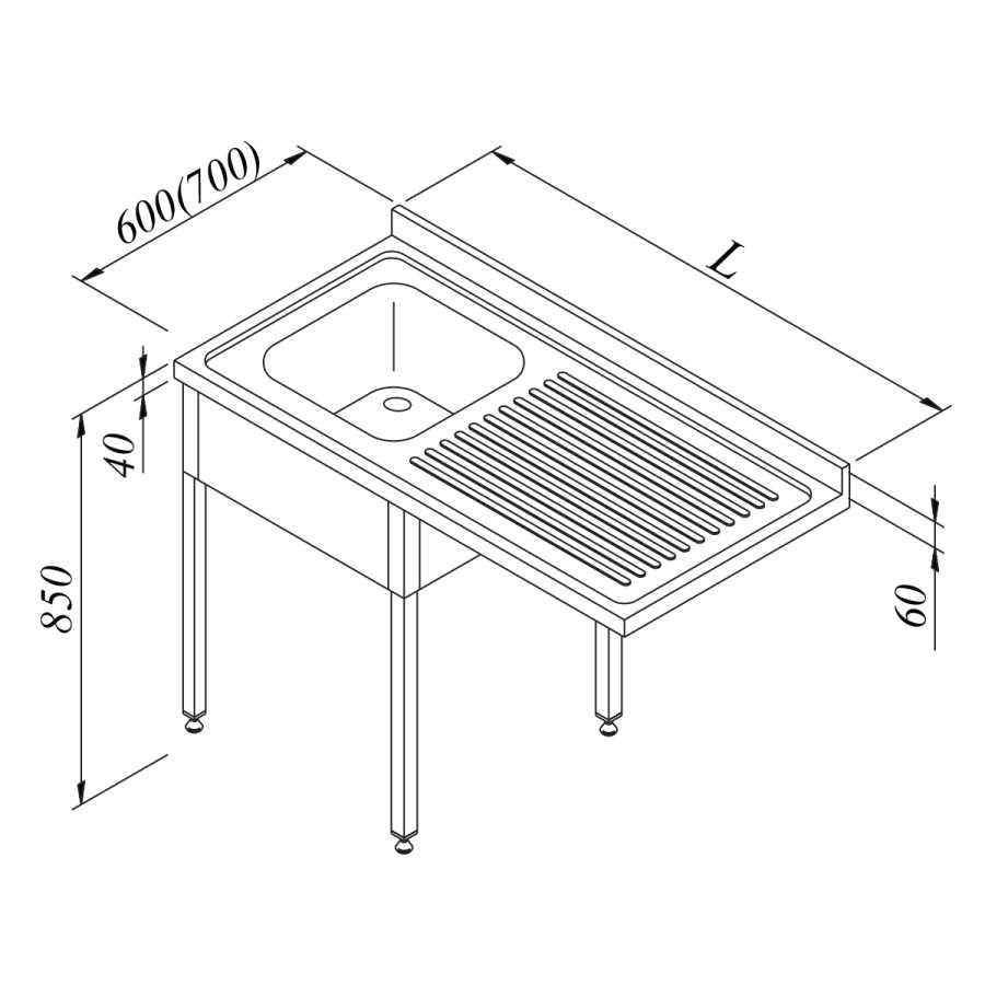 Öztiryakiler Bulaşık Makinası Üstü Evyeli Tezgah 1G/1D Sağ Demonte 120x70 cm