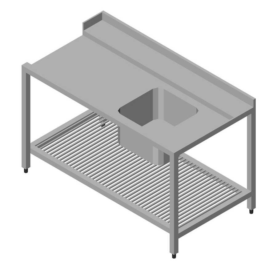Öztiryakiler Bulaşık Yıkama Makinesinin Giriş Alt Tablalı 1 Evyeli, Sağdan 160x75 cm