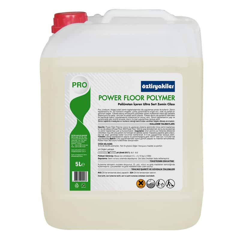 Öztiryakiler Power Floor Polymer Poliüretan İçeren Ultra Sert ve Parlak Zemin Cilası, Parfümlü, 5 lt