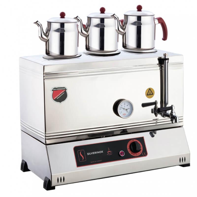 Silver 3 Demlikli Çay Kazanı, Pleytsiz, Kaynaklı, Elektrikli, 60'lık